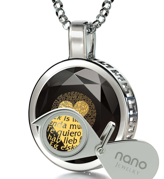 "Top Gifts for Wife, ""I Love You"" in Spanish, CZ Black Stone, Christmas Ideas for Girlfriend by Nano Jewelry"