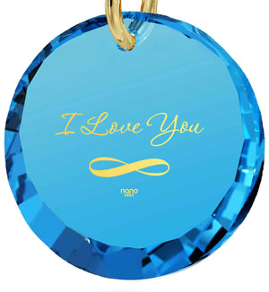 "Top Gifts for Wife,""I Love You Infinity"" 24k Imprint, Blue Topaz, Girlfriend Birthday Ideas, Nano Jewelry"