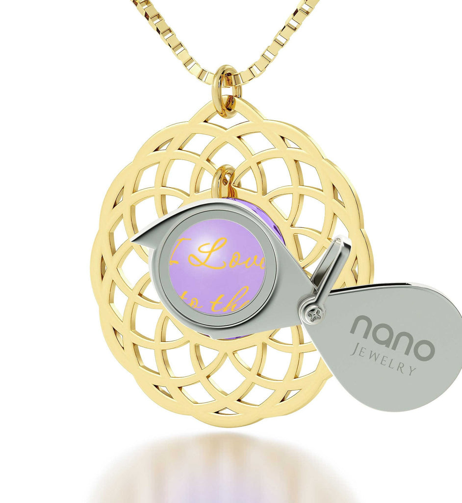 Good Presents for Girlfriend, Gold Filled Necklace, Mandala, I Love You to The Moon and Back Jewelry, Nano