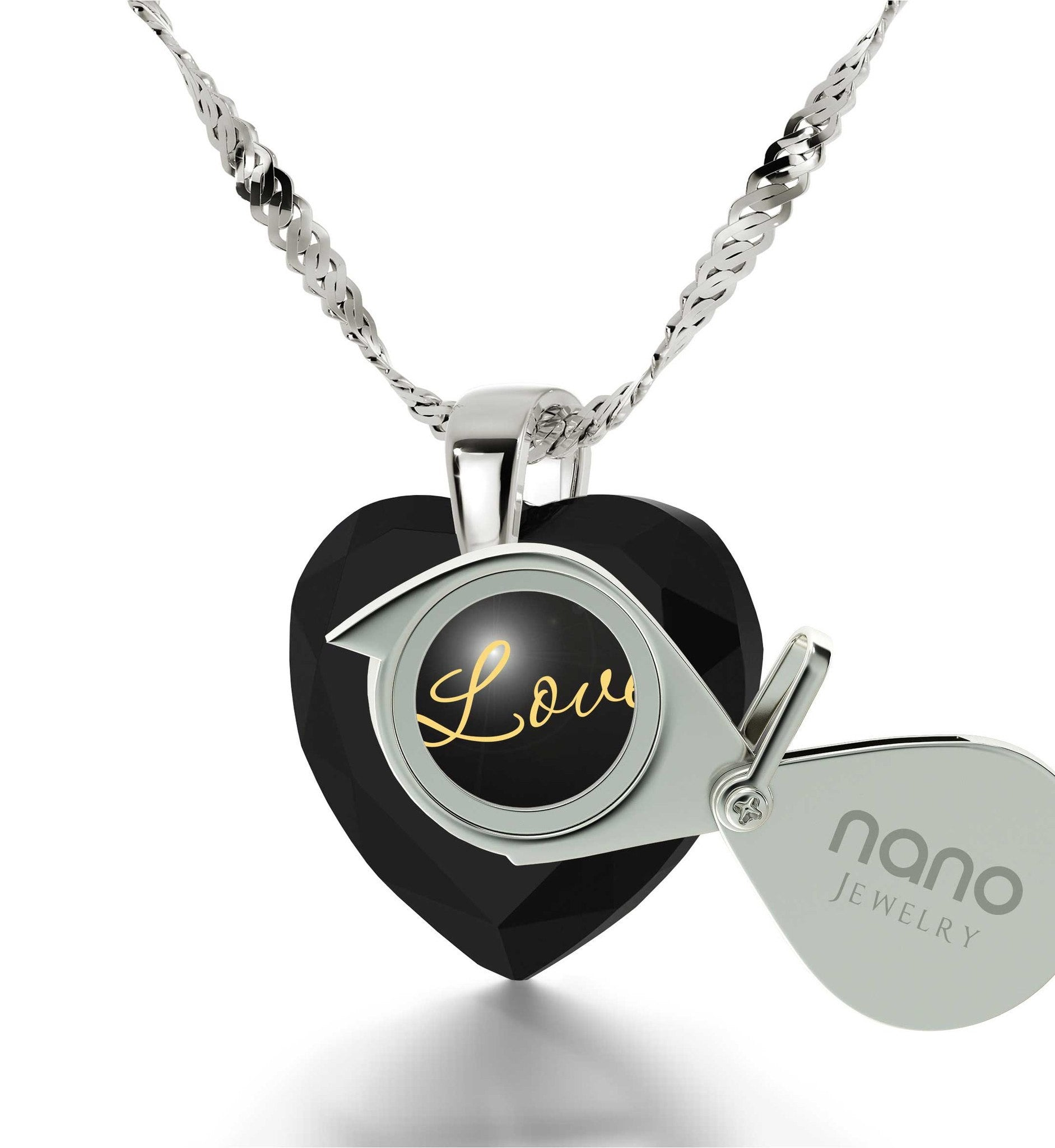 Top Gifts for Wife, I Love You White Gold Necklace, Birthday Present Ideas for Girlfriend, by Nano Jewelry