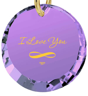 What to Get Girlfriend for Birthday, Light Amethyst Pendant, 24k Imprint, Love Gifts for Wife, Nano Jewelry