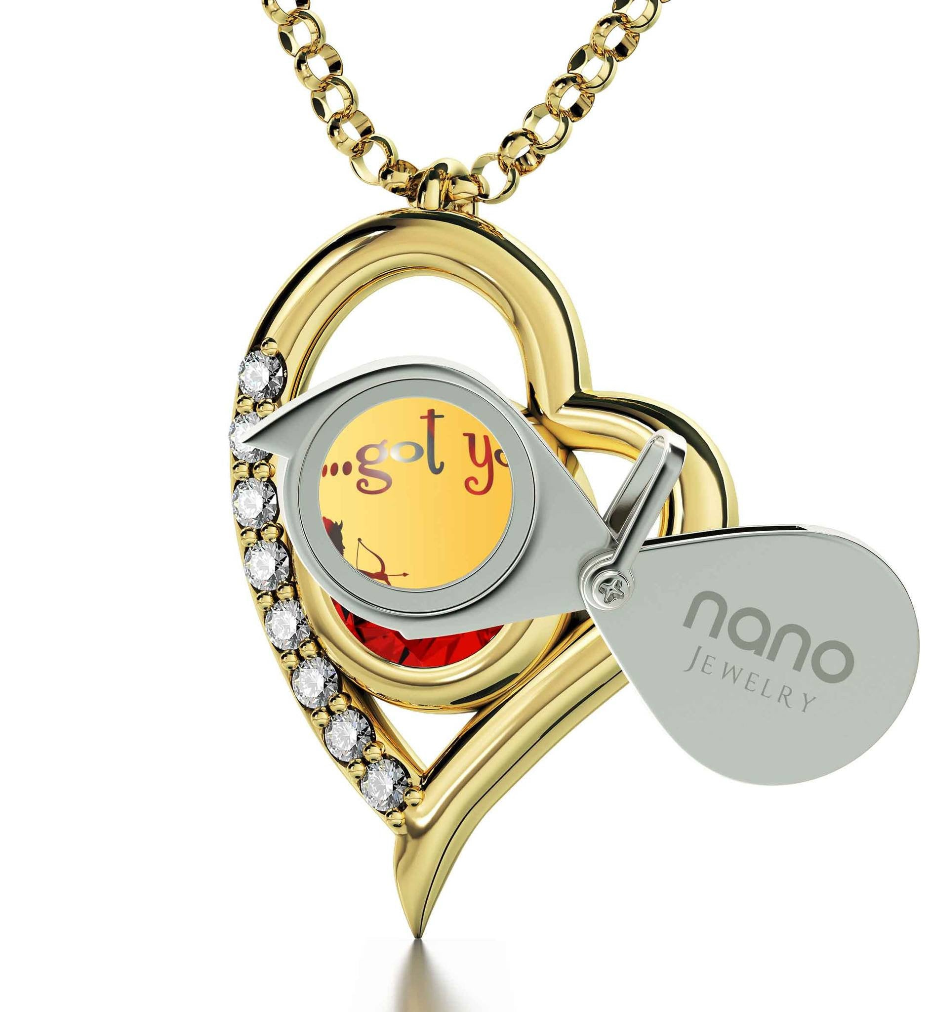 """Best Valentine Gift for Wife, 14k Pure Gold Necklace with Diamonds on Frame, Girlfriend Birthday Ideas, by Nano Jewelry"""