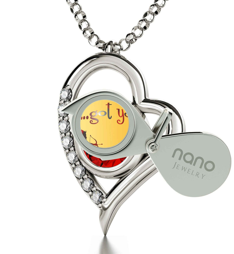"""Best Valentine Gift for Wife, 14k Pure White Gold Necklace with Diamonds on Frame, Girlfriend Birthday Ideas, by Nano Jewelry"""