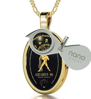 The World of Aquarius, 14k Gold Necklace, Onyx