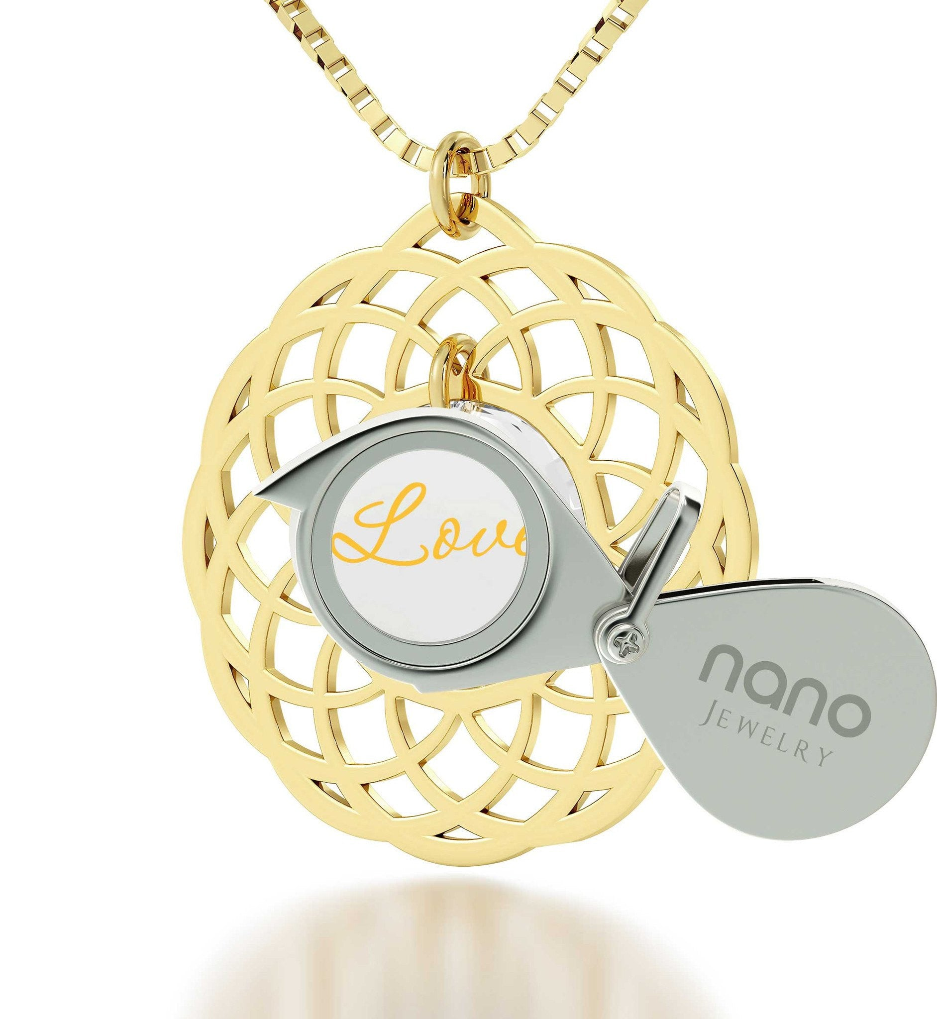 Top Womens Gifts, 24k Engraved Pendant, Girl Birthday Presents, Nano Jewelry