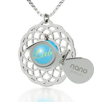 "Top Womens Gifts, Blue Stone Necklace,""I Love You"" in German, Best Presents for Girlfriend, Nano Jewelry"