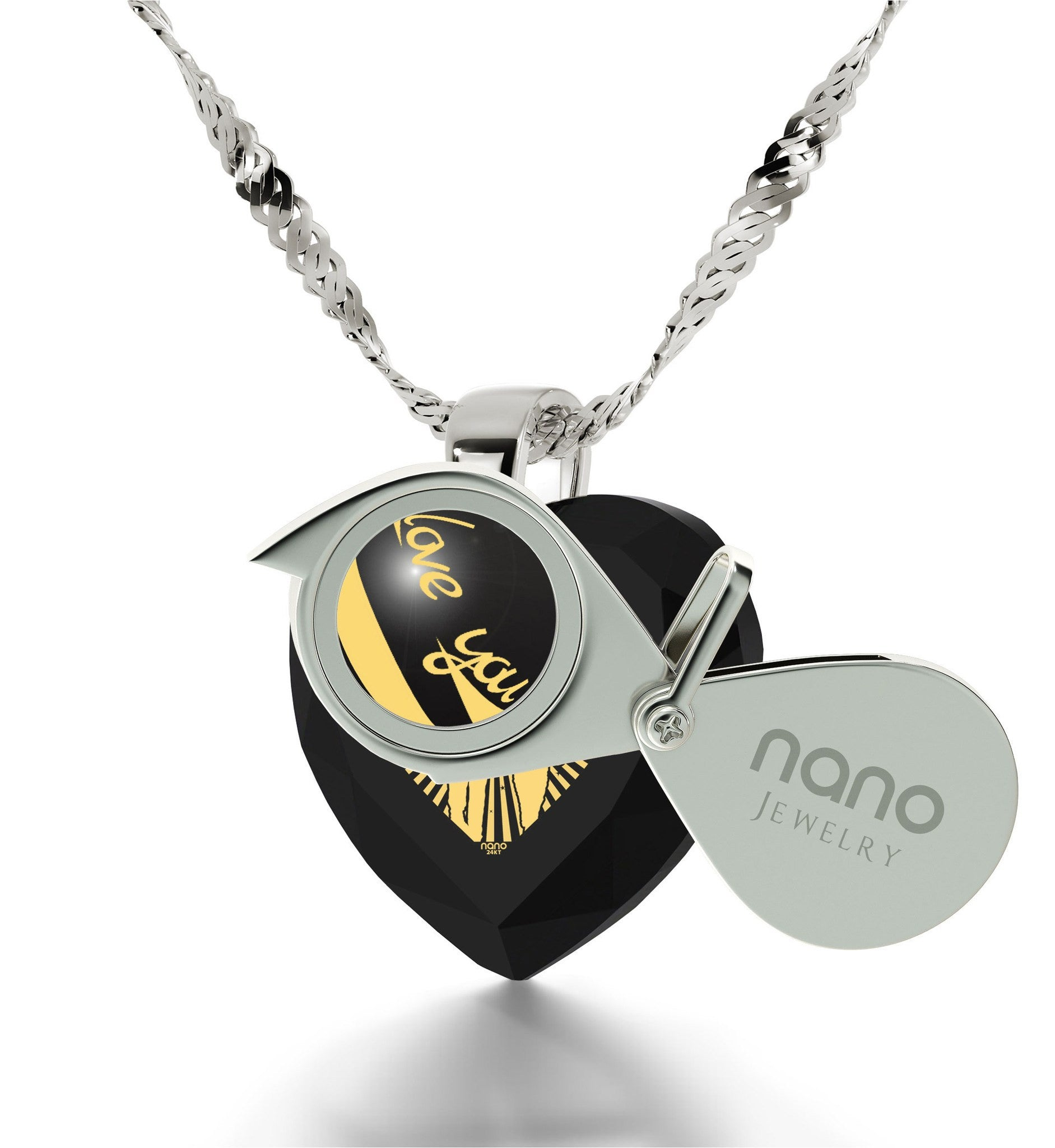 """Good Anniversary Gifts for Her, 24k Imprinted Necklace,14k White Gold Jewelry, Birthday Present for Wife, Nano"""