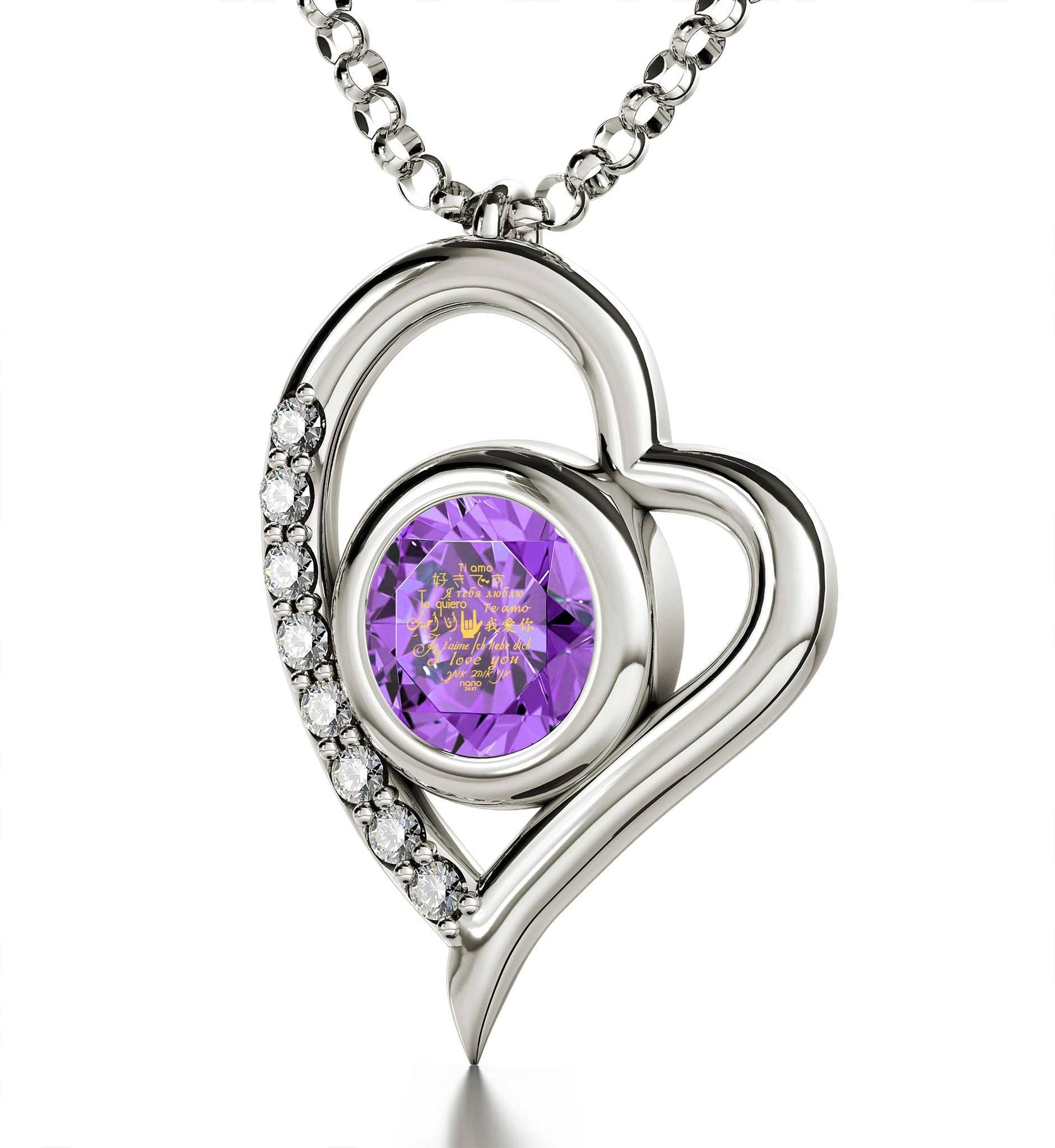 "Girlfriend Birthday Ideas, ""I Love You"" in 12 Languages, Purple Stone Jewelry, Romantic Valentines Gifts for Her"