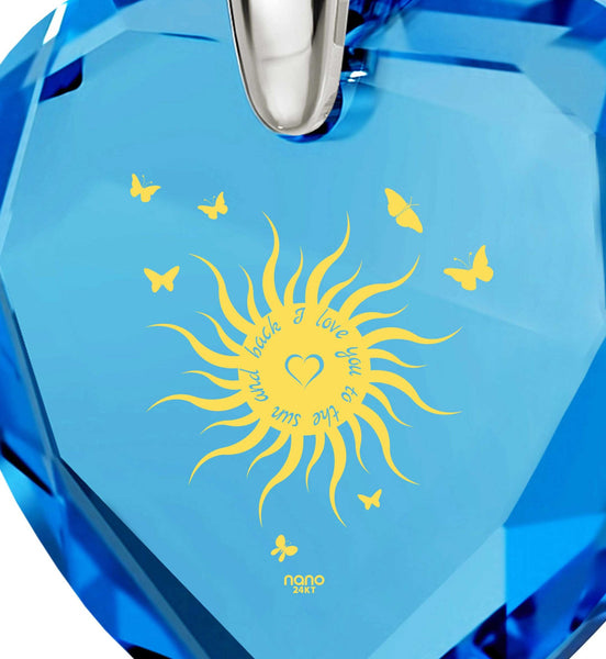 """Top Womens Gifts, ""I Love You to the Sun and Back"", CZ Blue Heart, What to Get Girlfriend for Birthday"""