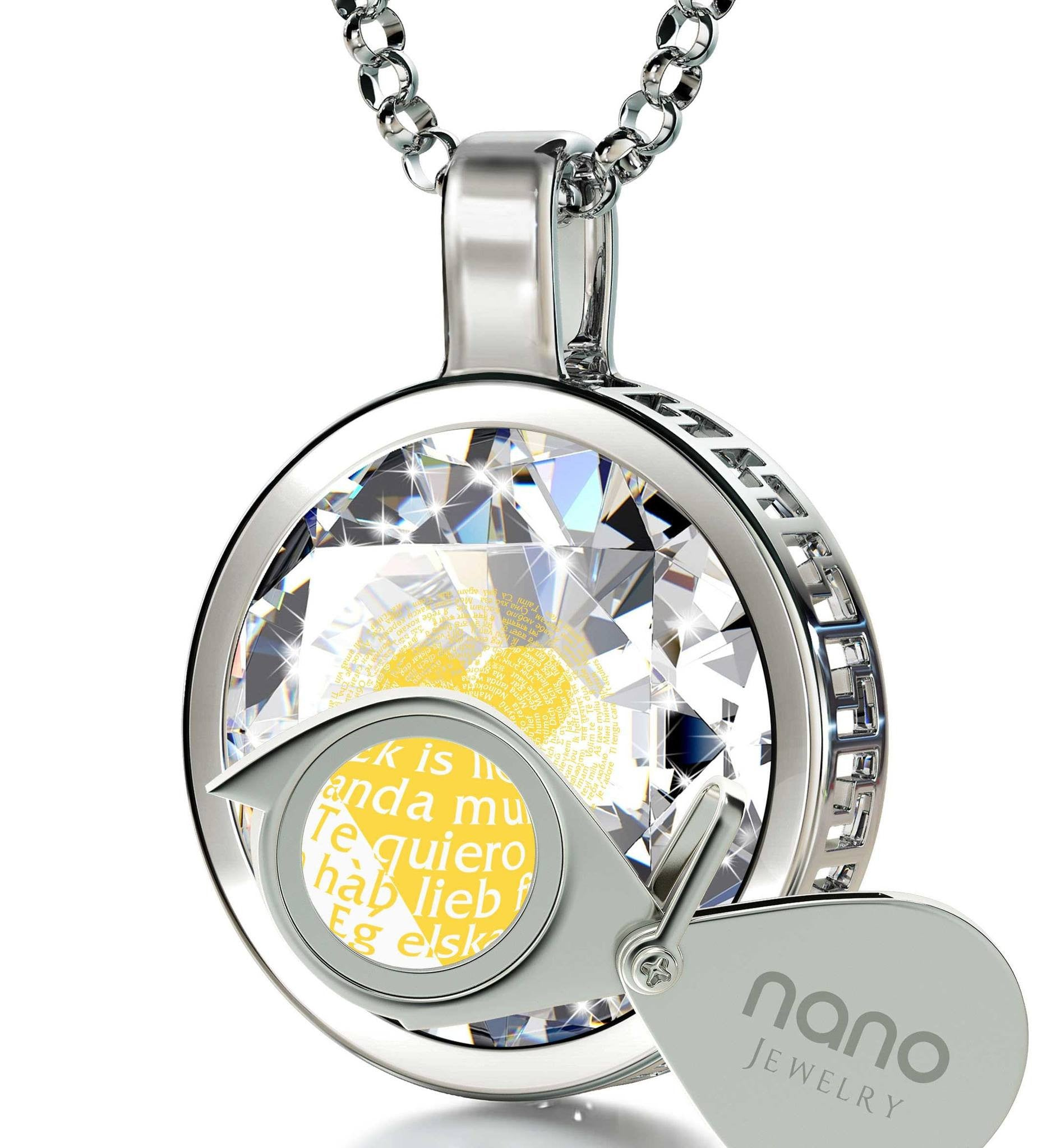 "I Love You Jewelry for Her: ""I Love You"" in All Languages - Round  - Nano Jewelry"
