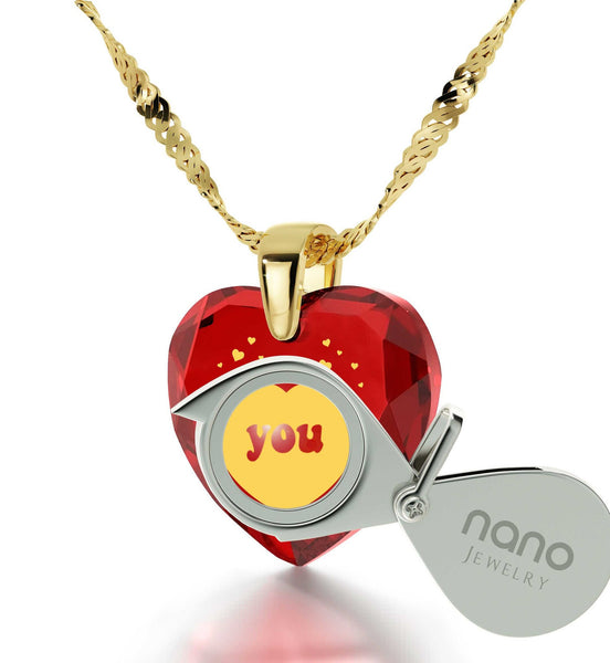 Top Womens Gifts, Red Pendant Necklace,CZ Jewelry, Best Presents for Girlfriend, Nano