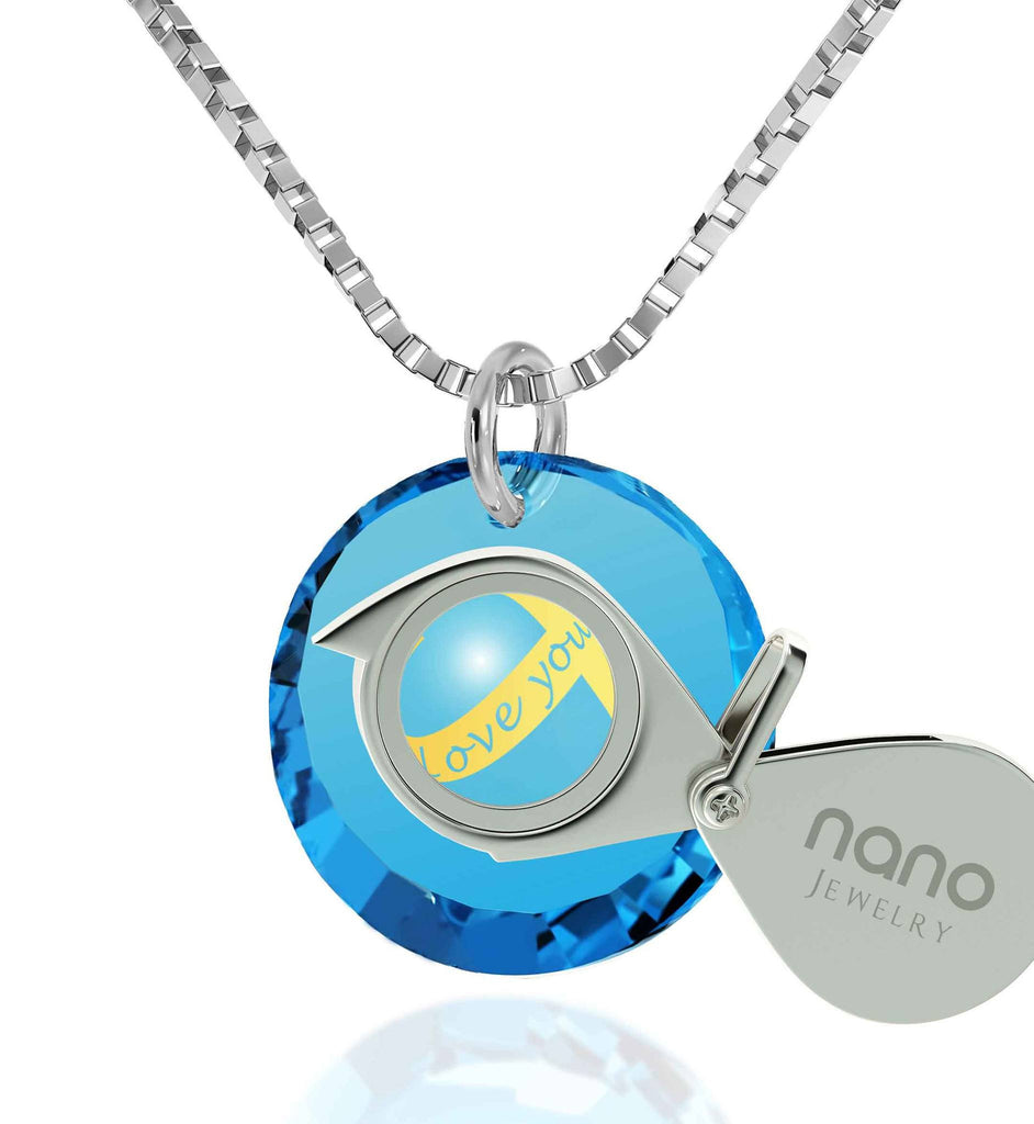 "Top Gift Ideas for Women, ""Love You Always"" Inscribed on Blue Stone, Cute Necklaces for Girlfriend, by Nano Jewelry"