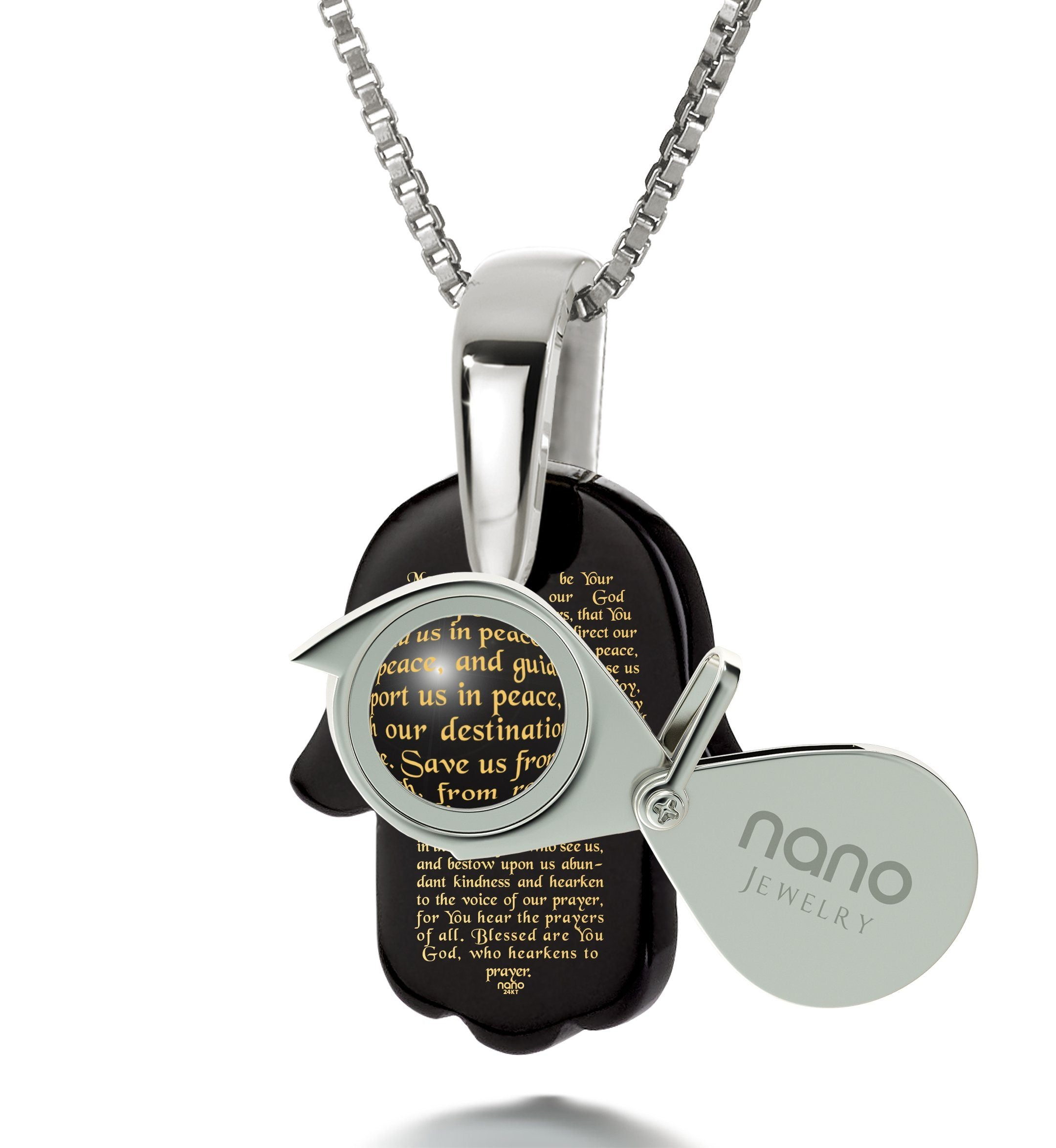 """Traveler's Prayer"": Jewish Hamsa Necklace, Presents for Travellers, Onyx Jewelry, Nano Jewelry"