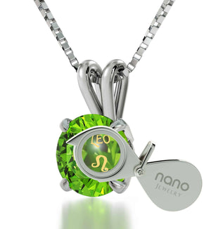 """Leo Sign on Green Stone Sterling Silver Necklace, Girlfriend Birthday Ideas, Valentine Gift for Wife,by Nano Jewelry"""