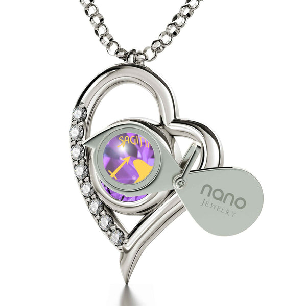 """Purple Charm with Silver Heart Frame Jewelry, Mother's Day Gifts from Husband, Xmas Presents for Women"""