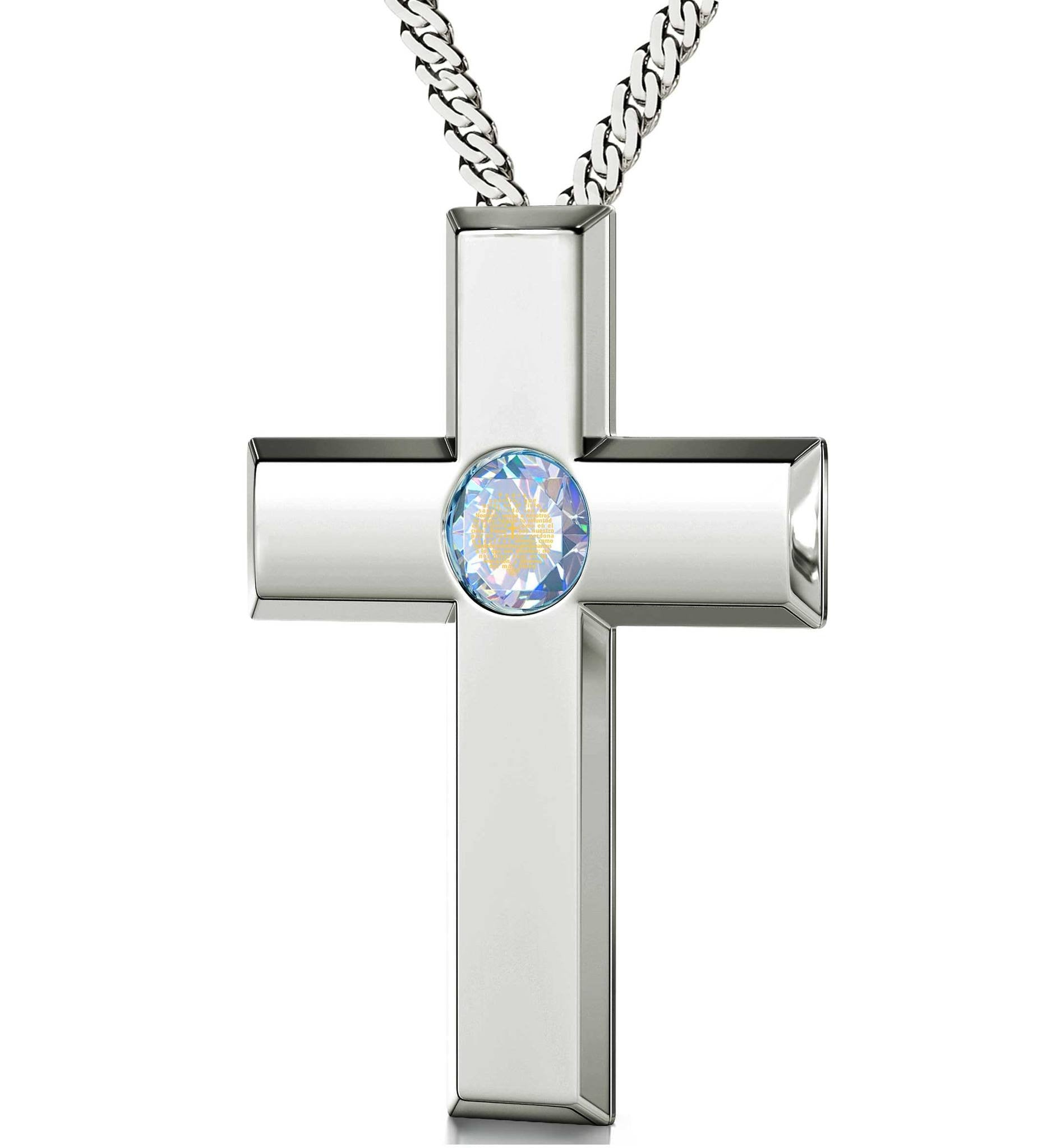 """Lord's Prayer Silver Cross Necklace, Christmas Present Ideas for Best Friend, Special Gifts for Sisters, Nano Jewelry"""