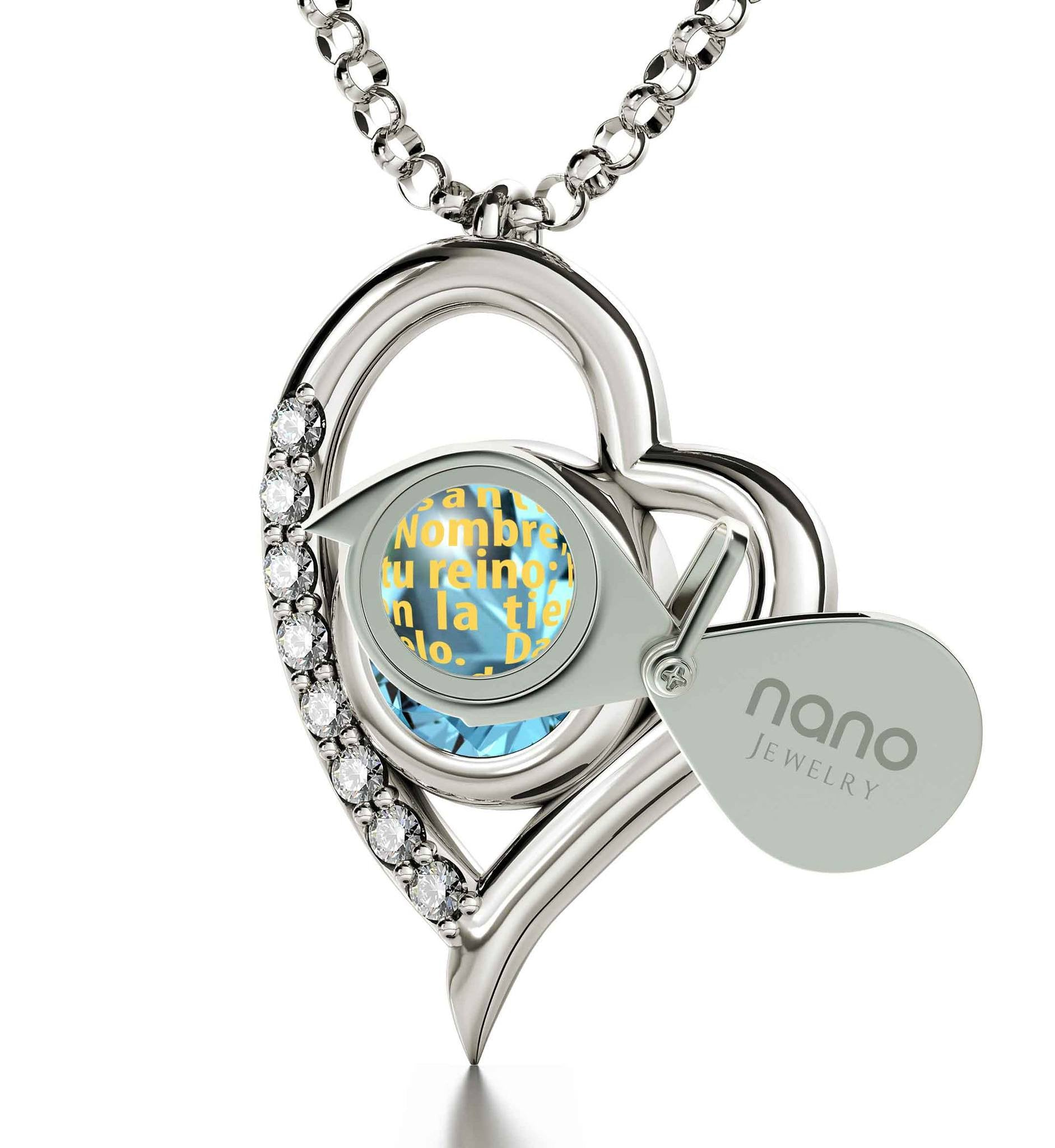 """Sterling Silver Necklace with Padre Nuestro Black Pendant, Mother Day Presents, Religious Gifts for Women, Nano Jewelry"""