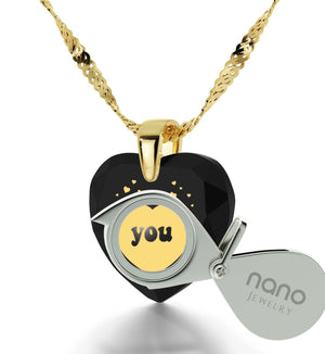Unusual Xmas Gifts, 14kt Gold Chain, 24k Engraved Pendant, Necklaces for Your Girlfriend, Nano Jewelry