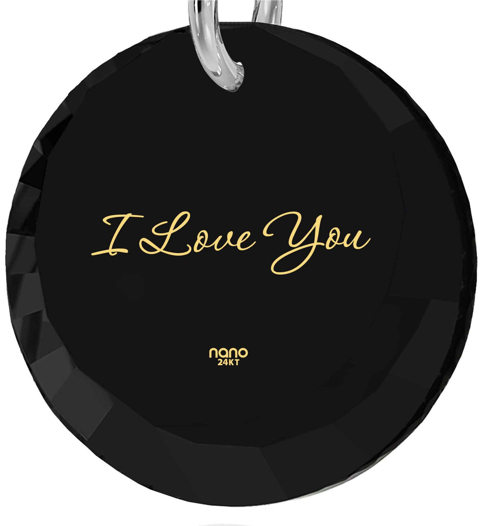 "Unusual Xmas Gifts,""I Love You"" 24k Imprinted Pendant, Girl Birthday Presents, Nano Jewelry"