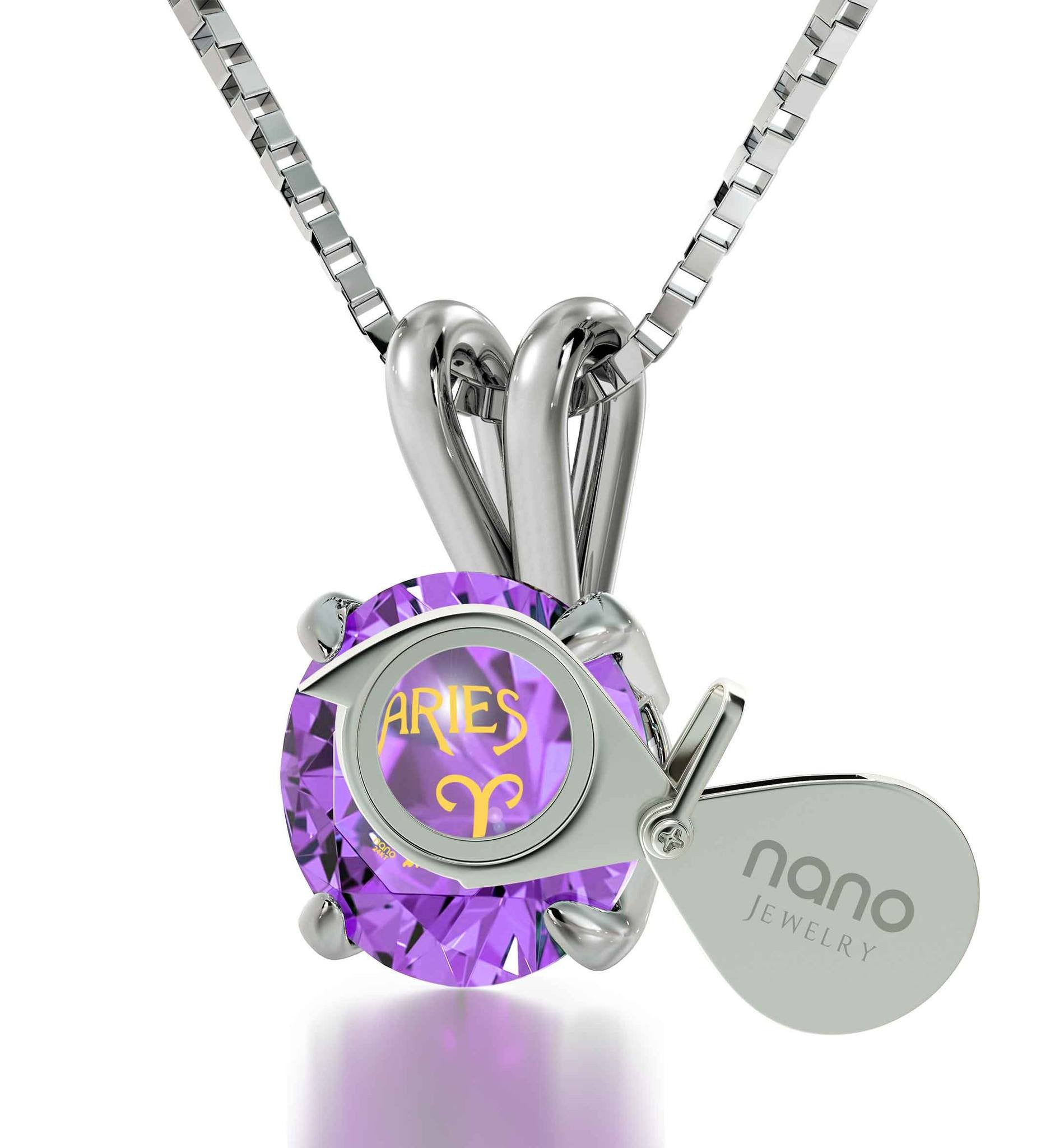 """ChristmasPresents for MyWife: AriesPendant, PurpleStoneJewelry, PerfectValentinesGift for Girlfriend"""