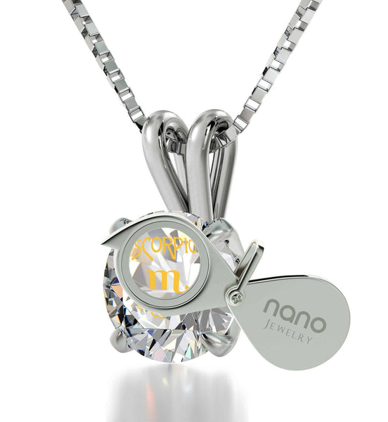 """Birthday Present for Sister, Scorpio Sterling Silver Necklace Chain With Crystal Pendant, Fun Gifts for Women"""