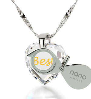 """Christmas Gifts for Mother in Law, ""Best Mom"" in German, CZ White Heart, Presents for Moms Birthday by Nano Jewelry"""