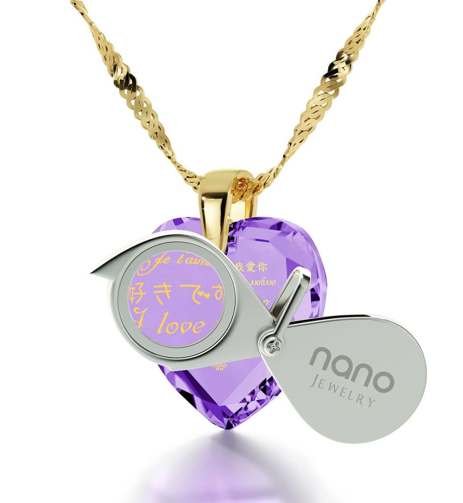 Valentine's Day Gift Ideas for Girlfriend, CZ Purple Stone, Birthday Present for Wife by Nano Jewelry