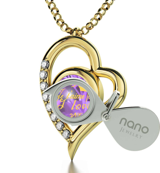 "What to Get Your Girlfriend forValentines Day,""TeQuiero"", Gold Pendant with Diamonds, Cute Necklaces for Her"