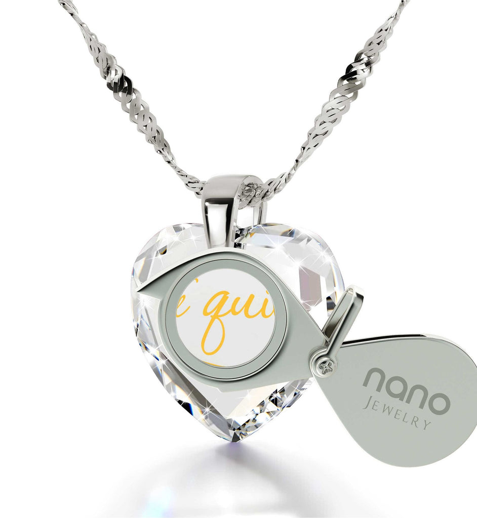 """What to Get Girlfriend for Birthday, Women's Sterling Silver Jewelry, ""TeQuiero"", Xmas Gifts for the Wife by Nano"""