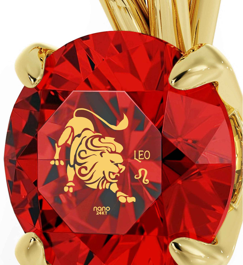 """Valentines Presents for Her: Gold Chain with Leo Sign Red Pendant, What to Get My Wife for Christmas"""