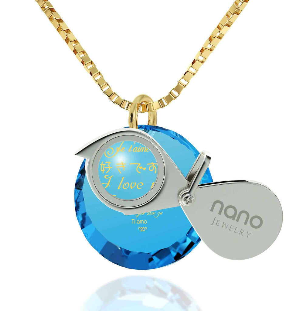 Valentine's Day Gift Ideas for Girlfriend,Love in Other Languages, CZ Blue Round Stone, Wife Birthday Ideas by Nano Jewelry