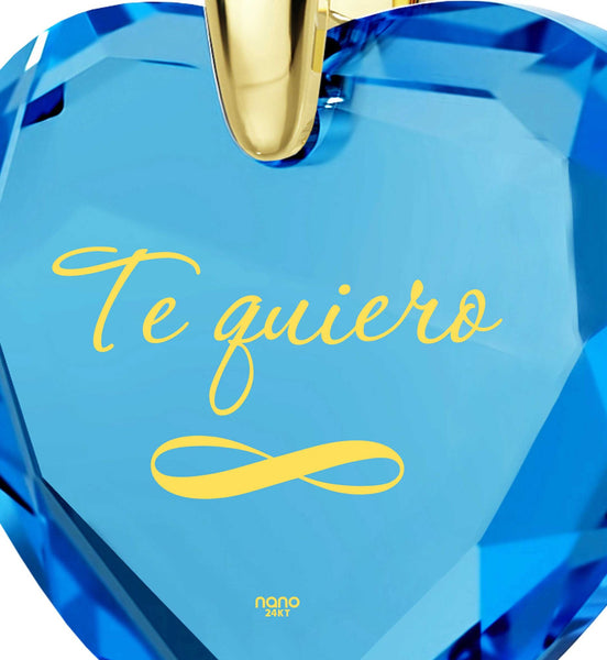 """What to Get Girlfriend for Christmas, Necklaces with Meaning, ""TeQuiero"", Wife Birthday Ideas by Nano Jewelry"""