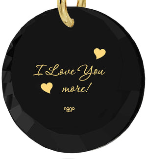 """Valentine's Gift for Her,""I Love You More"" In 24k, Black Gold Jewelry, Birthday Present for Girlfriend"""
