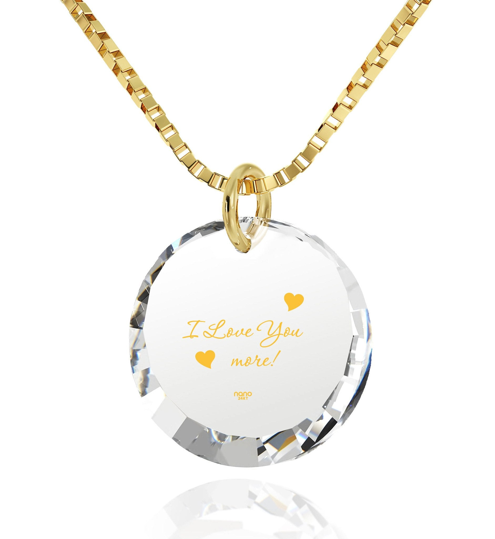 """Valentine's Gift for Her,""I Love You More"" In 24k, Cool Necklace, Birthday Present for Girlfriend"""