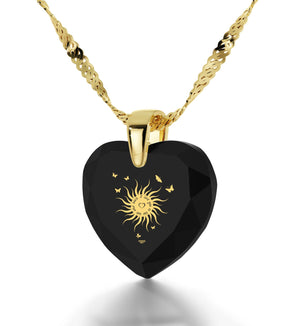 """Great Christmas Gifts for Girlfriend, ""I Love You to the Sun and Back"", CZ Black Heart, Valentines Ideas for Her """