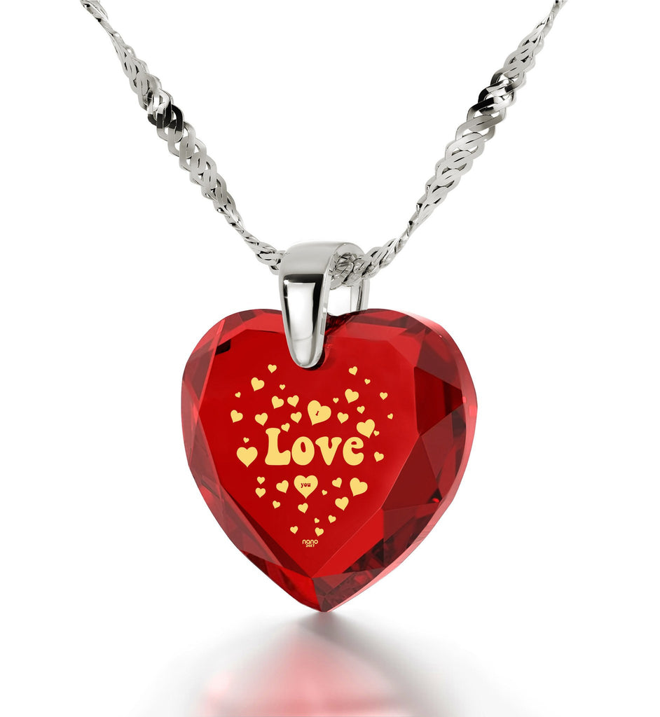 "Valentines Day Ideas,""I Love You"" Jewelry Engraved In 24k Gold, Heart Necklace for Girlfriend"