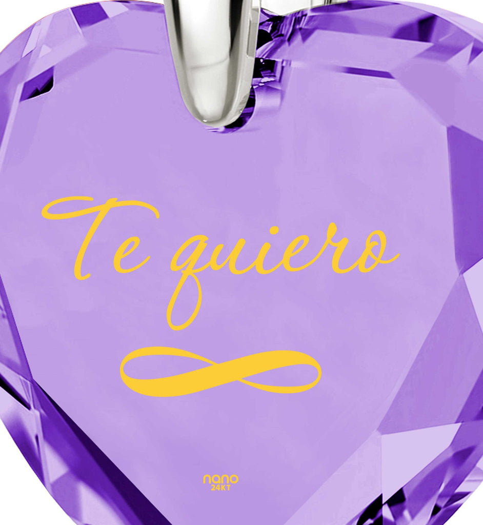 """How to Say ""I Love You"" in Spanish? ""TeQuiero"", Valentine's Gift for Her, CZ Jewelry """