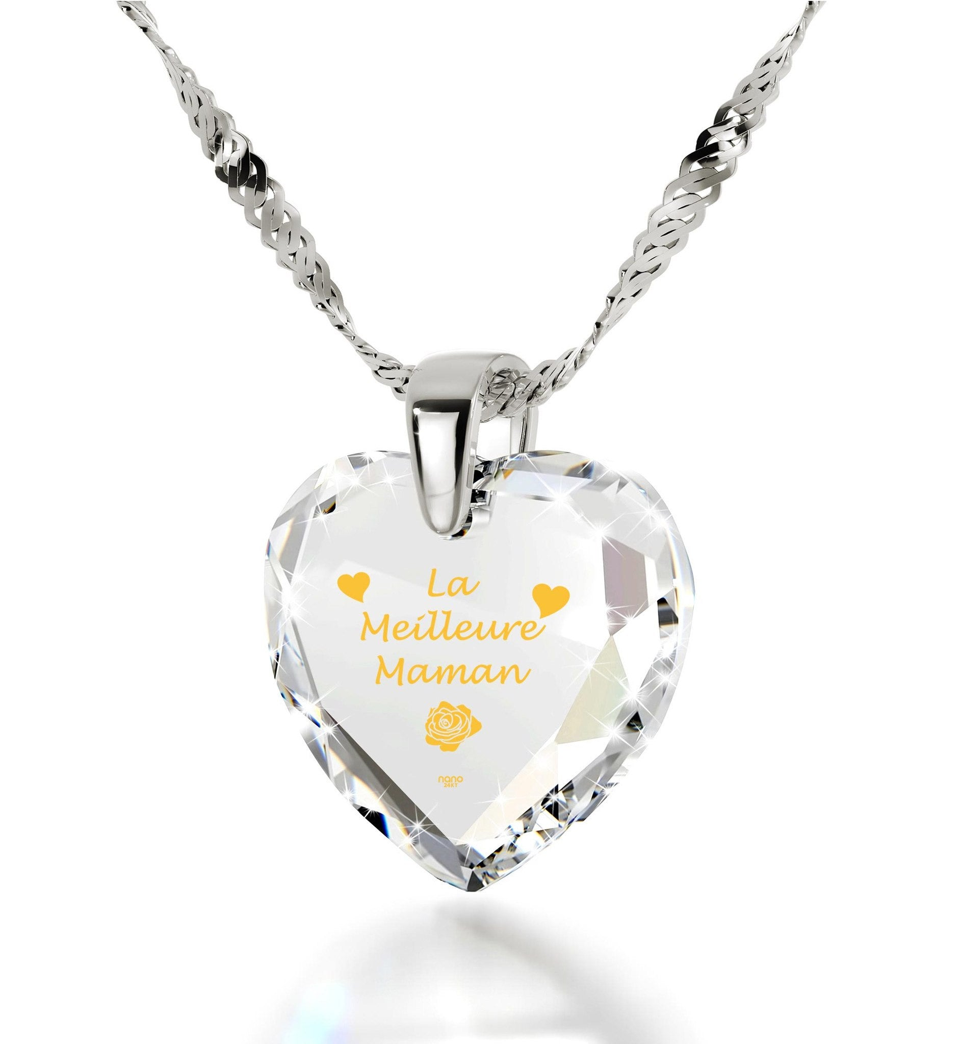 """Good Christmas Presents for Mom, ""La Meilleure Maman"", 14k White Gold Pendants for Womens, Best Gift for Mother's Day"""