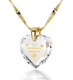 """Good Christmas Presents for Mom, ""La Meilleure Maman"", 14k Gold Pendants for Womens, Best Gift for Mother's Day"""