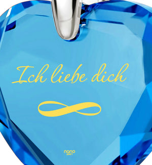 """Valentine's Ideas for Her, Blue Stone Pendant, ""I Love You"" in German, Different Christmas Presents by Nano Jewelry"""