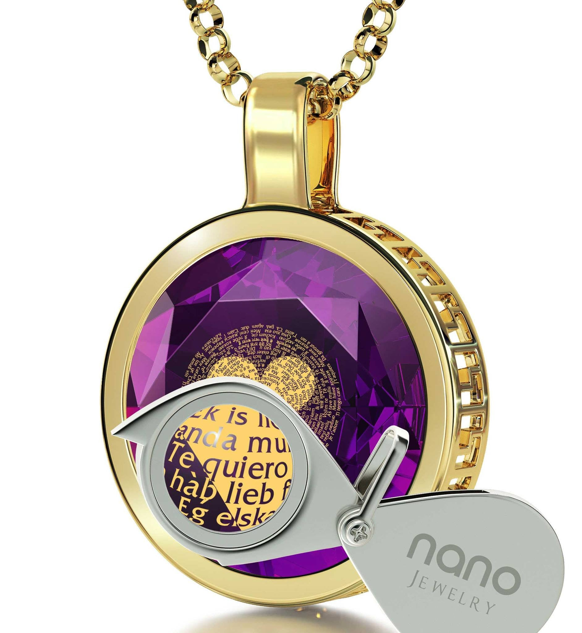 "Marriage Anniversary Gifts For Her: ""I Love You"" in 120 Languages  - Silver Gold Plated - 14K Gold - Nano Jewelry"