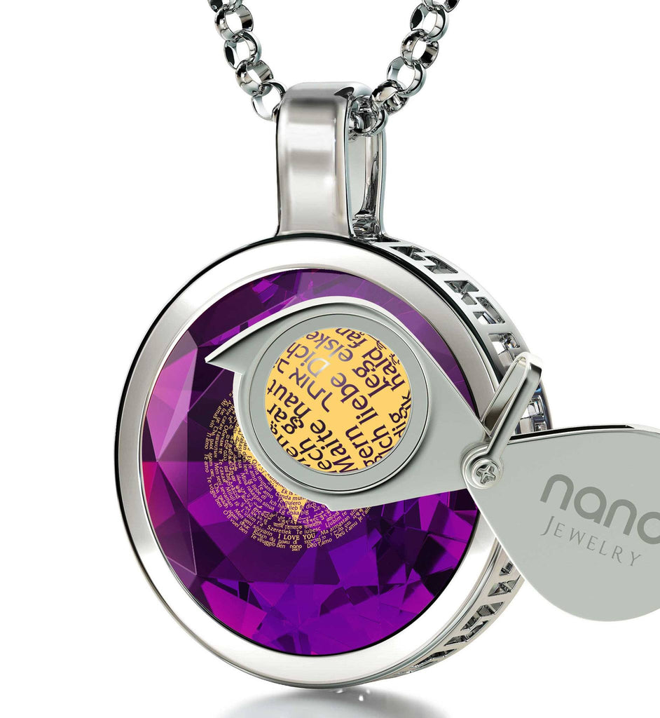 Valentine's Ideas for Her, Engraved Pendants, Love in Different Languages, Girlfriend Gifts for Christmas by Nano Jewelry