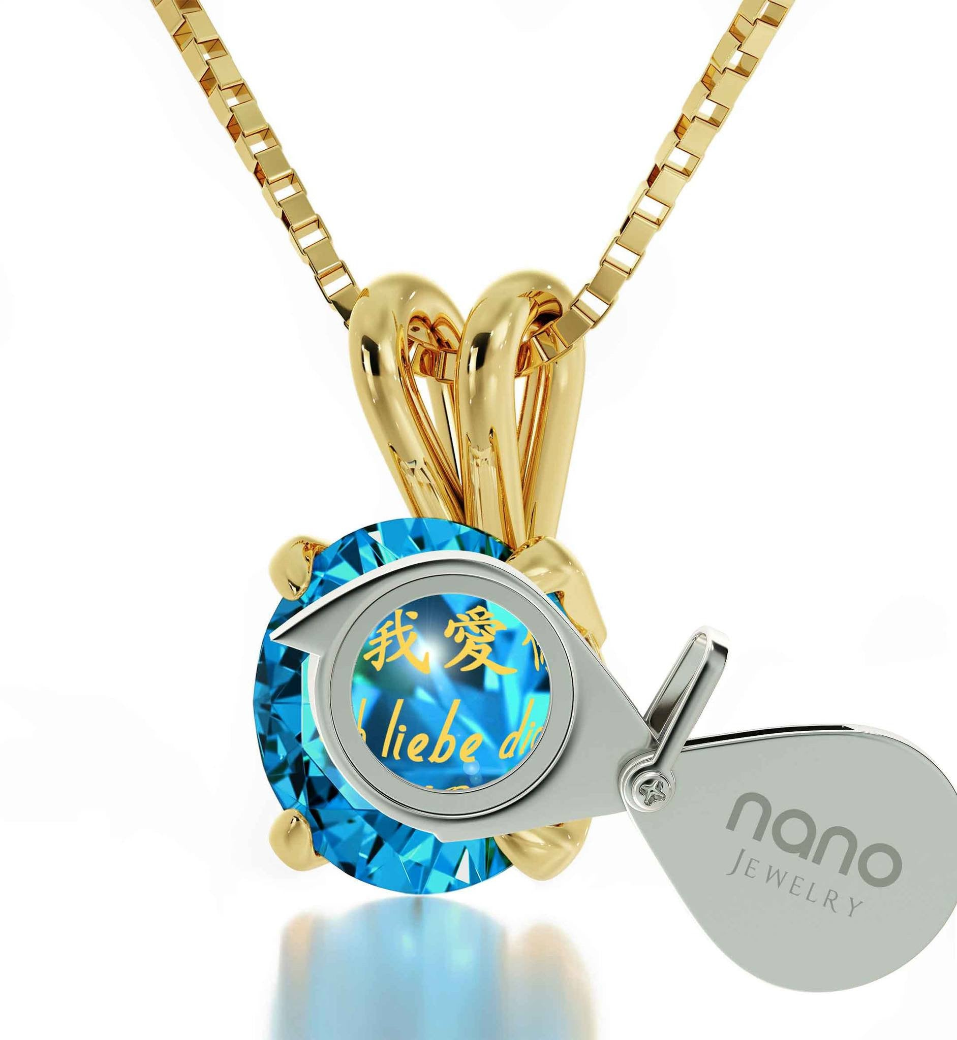 "Christmas Presents for the Wife, ""Te Amo"", Aquamarine Stone Necklace, Unusual Valentines Gifts by Nano Jewelry"