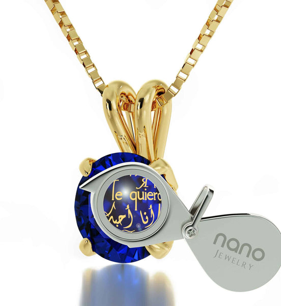 "14k Gold Pendants for Womens, ""I Love You"" Engraved in 24k, CZ Blue Stone, Cute Valentines Day Gifts for Girlfriend"