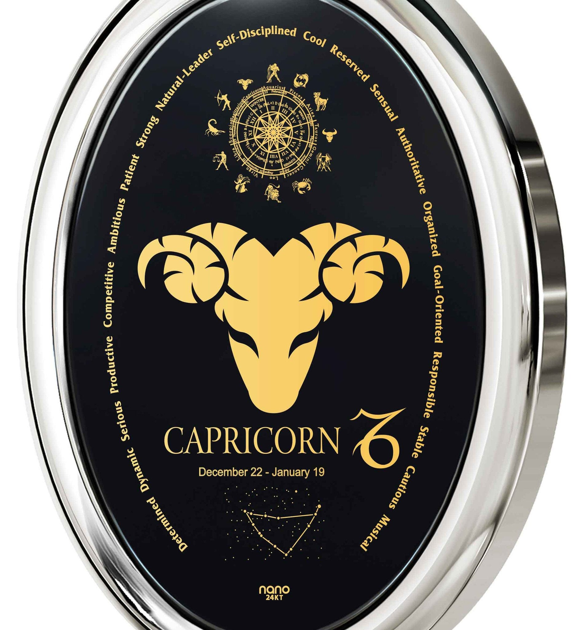 The World of Capricorn, 925 Sterling Silver Necklace, Onyx