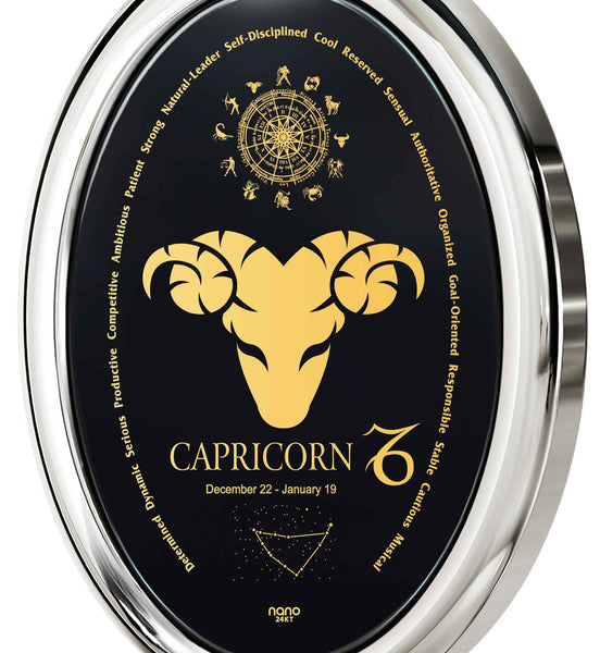 The World of Capricorn, 925 Sterling Silver, Onyx