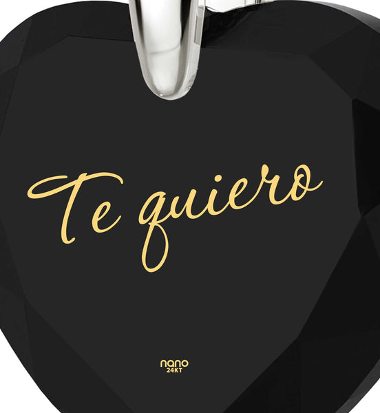 "Valentines Presents for Her,14k White Gold Chain,""Te Quiero"", Gift Ideas for Young Women, Nano Jewelry"