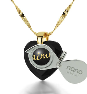 Cute Necklaces for Her, Love in French, 24k Engraved Pendant, Womens Presents, Nano Jewelry