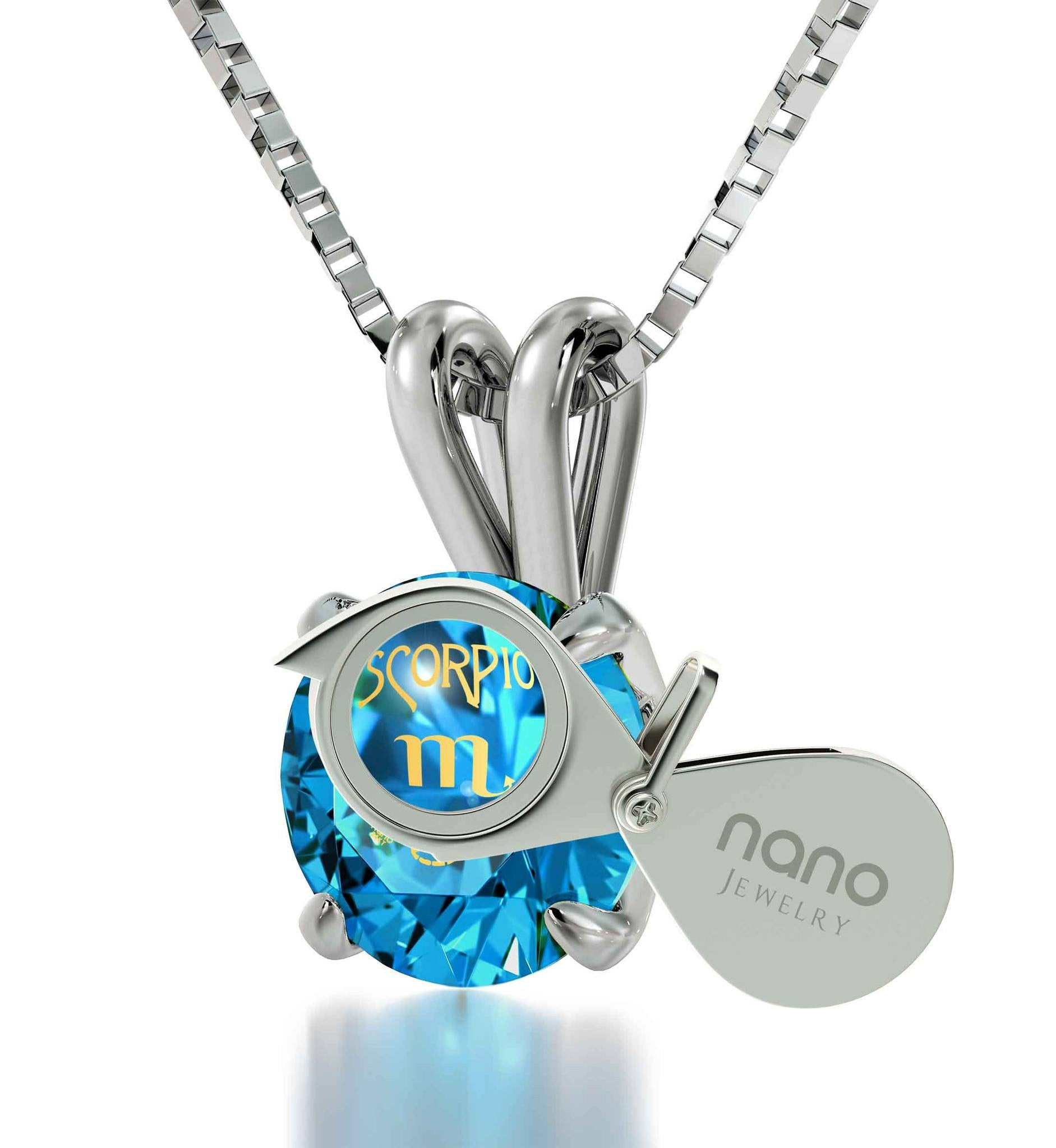 """Xmas Presents for Women, Blue Topaz Pendant With Engraved Scorpio Sign, Women's Gold Jewelry"""