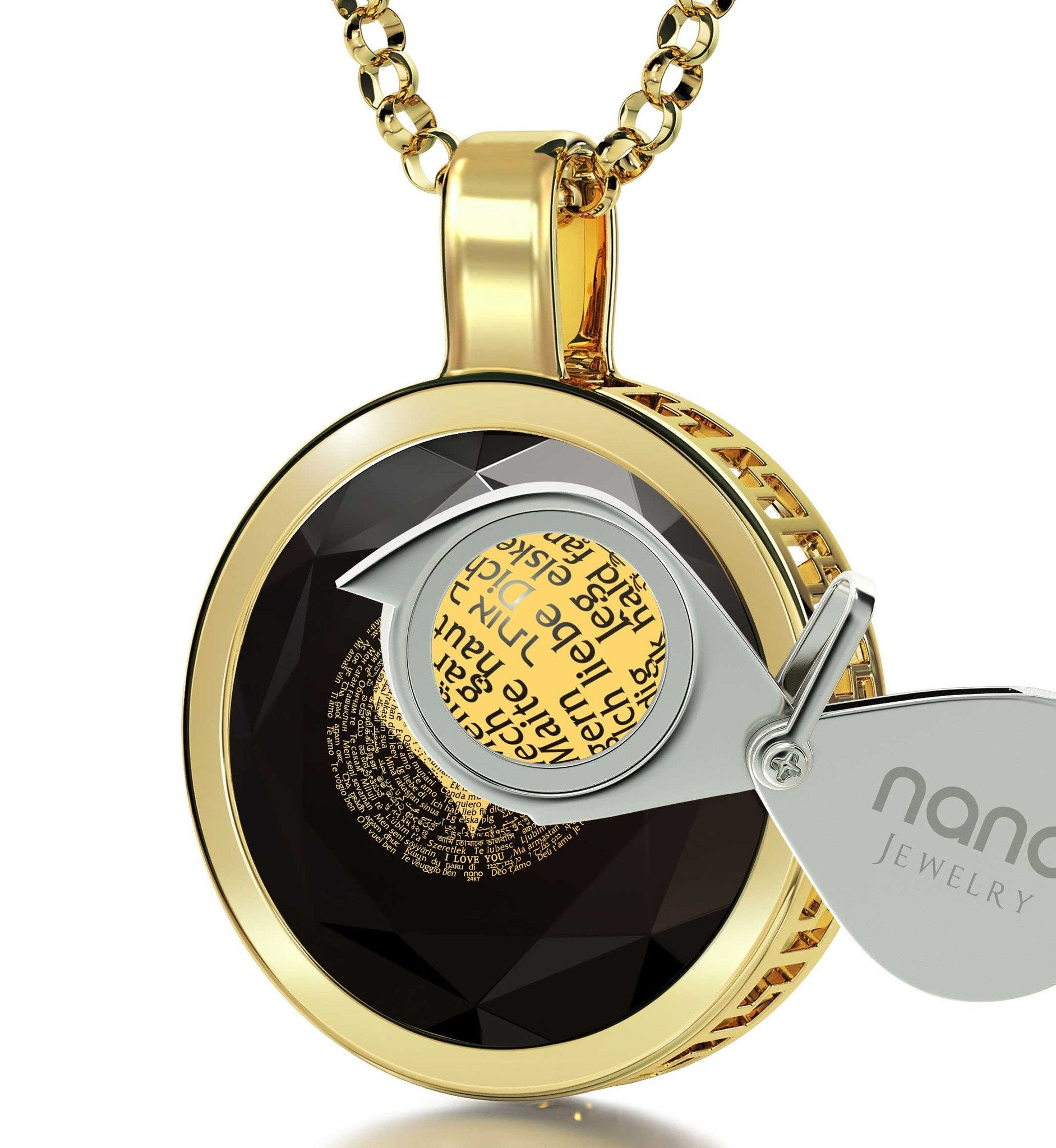 "Anniversary Necklace For Her: ""I Love You"" in 120 Languages  - Silver Gold Plated - 14K Gold - Nano Jewelry"
